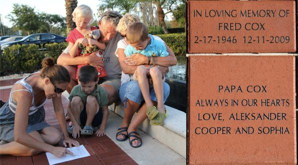 Family makes tracing of their memorial brick